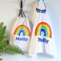 Personalised towel & bag - Rainbow