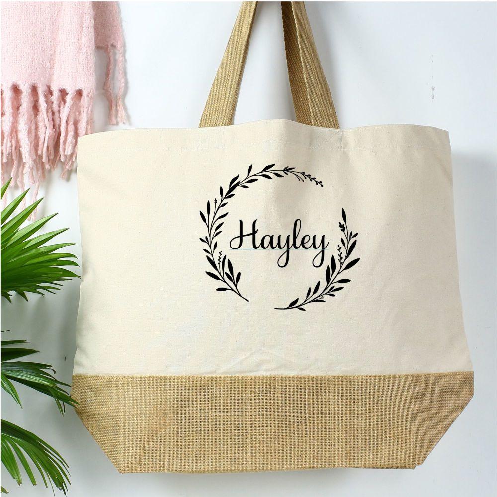 <!-- 082--> Cotton canvas shopper - Wreath/Name