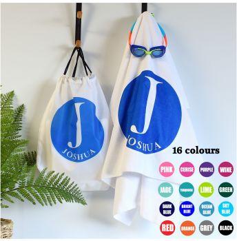 Personalised towel & bag - Initial