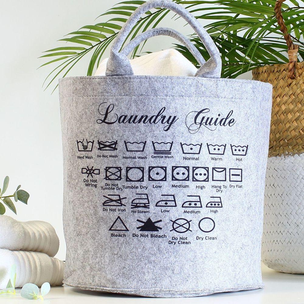 Laundry symbols basket