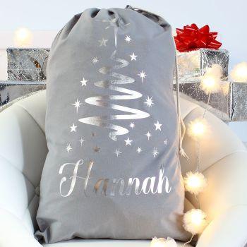 Personalised Christmas Sack - Grey