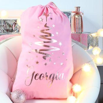 Personalised Christmas Sack - Pink