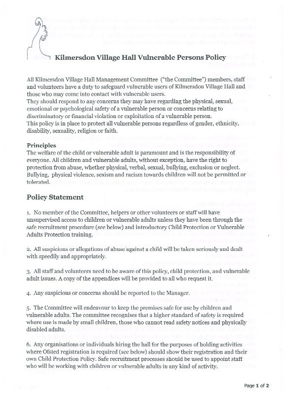 policy - vulnerable persons page 1