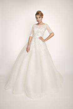 New Zevi by Gemma Gabrielle Ball Gown Style Sequin Lace Wedding Gown - Liberty - Size 14