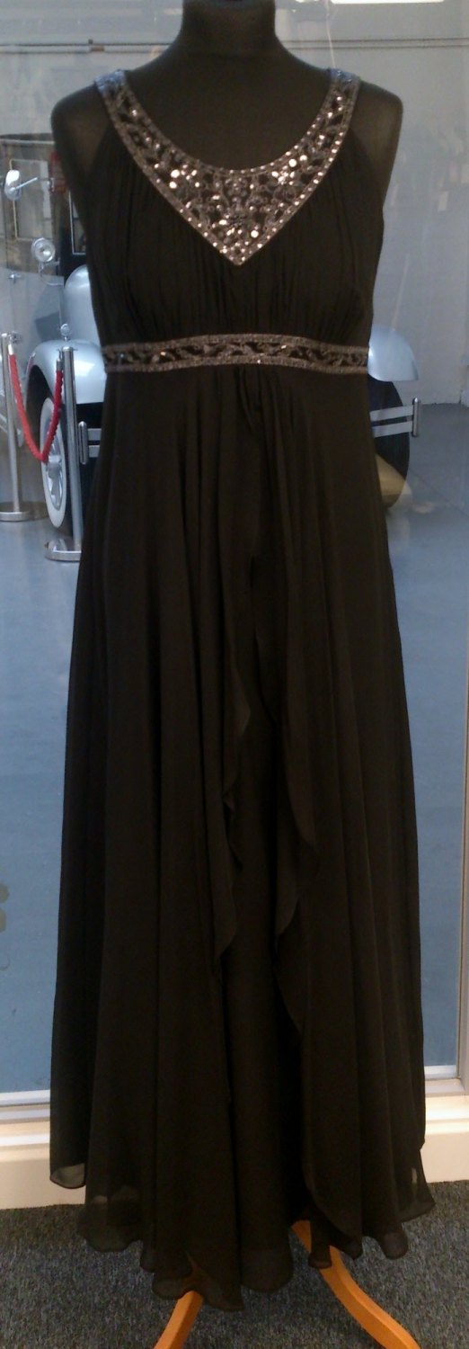 Monsoon Black Evening Maxi Dress - Size 12