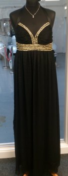Black Go Diva Evening Halter Maxi Dress - Sixe 12