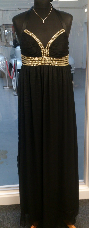 GoDiva Black Evening Halter Maxi Dress - Sixe 12