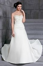 D'Zage White Satin A-Line Wedding Gown - Size 14 - Sample Sale Dress