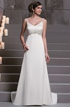 D'Zage Ivory Satin Column Wedding Gown - Size 16 - Sample Sale Dress