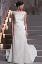 D'Zage Ivory Satin Sheath Wedding Gown - Size 18 - Sample Sale Dress