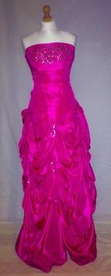 Cerise Pink Ball Gown Style Prom Dress - Size 8 - Elaine