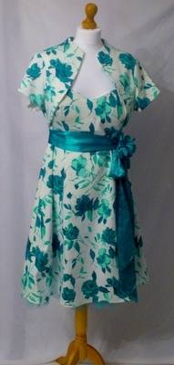 Debut Turquoise & White Floral Dress & Shrug Jacket - Size 18
