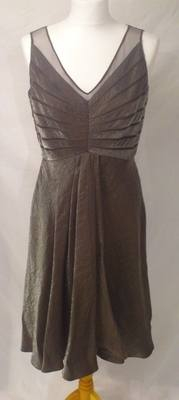 Lovely Metalic Pewter Adrianna Papell Dress  - Size 12
