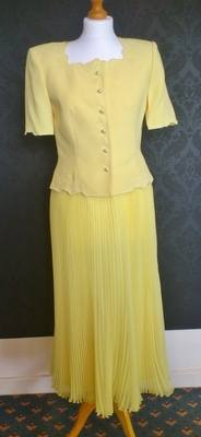 Condici Yellow Skirt & Jacket Suit from Catherines of Partick - Size 8/10