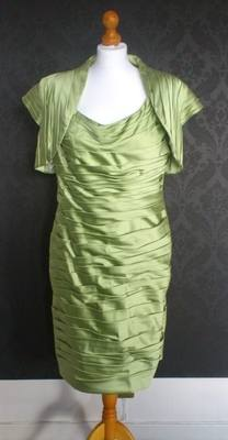 Irresistible Lime Green Pleated Dress & Shrug Jacket from Catherine's of Pa