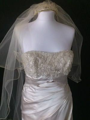 Tia by Benjamin Roberts Champagne Wedding Gown - Size 14