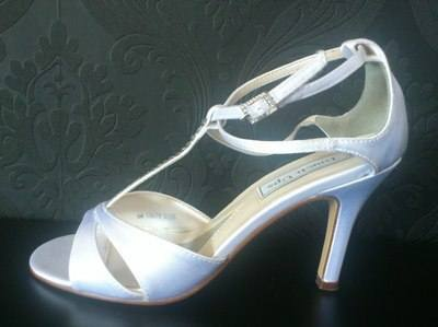 Touch Up White Diamonte Detail Wedding Shoes - Size 4