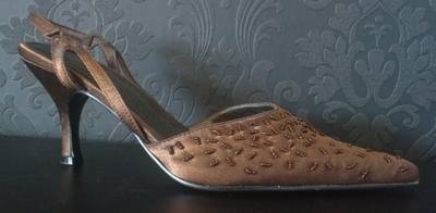 Gorgeous Brown Beaded Slingback Shoe - Size 4