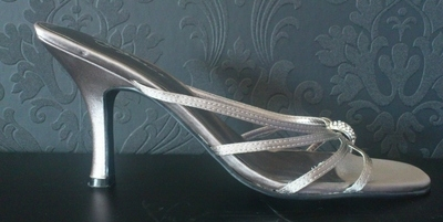 Metalic Pewter Strappy Mules from USA - Size 6