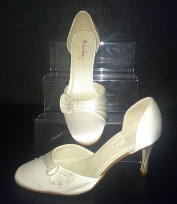Rainbow Club Ivory High Heel Shoe with Diamonte & Pleat Detail - Size 6