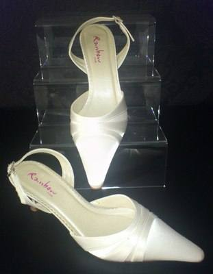 Rainbow Club Ivory Slingback Shoe with Satin Detail - Size 5
