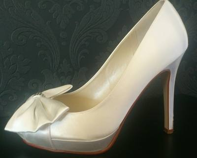 Rainbow Club Ivory High Heel Platform Show with Bow & Diamonte Detail - Siz