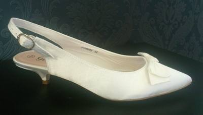 New Look Ivory Sling Back Kitten Heel Shoe - Size 4