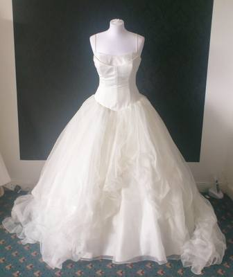 Veromia Ballerina Princess Style Ivory Wedding Gown - Size 10