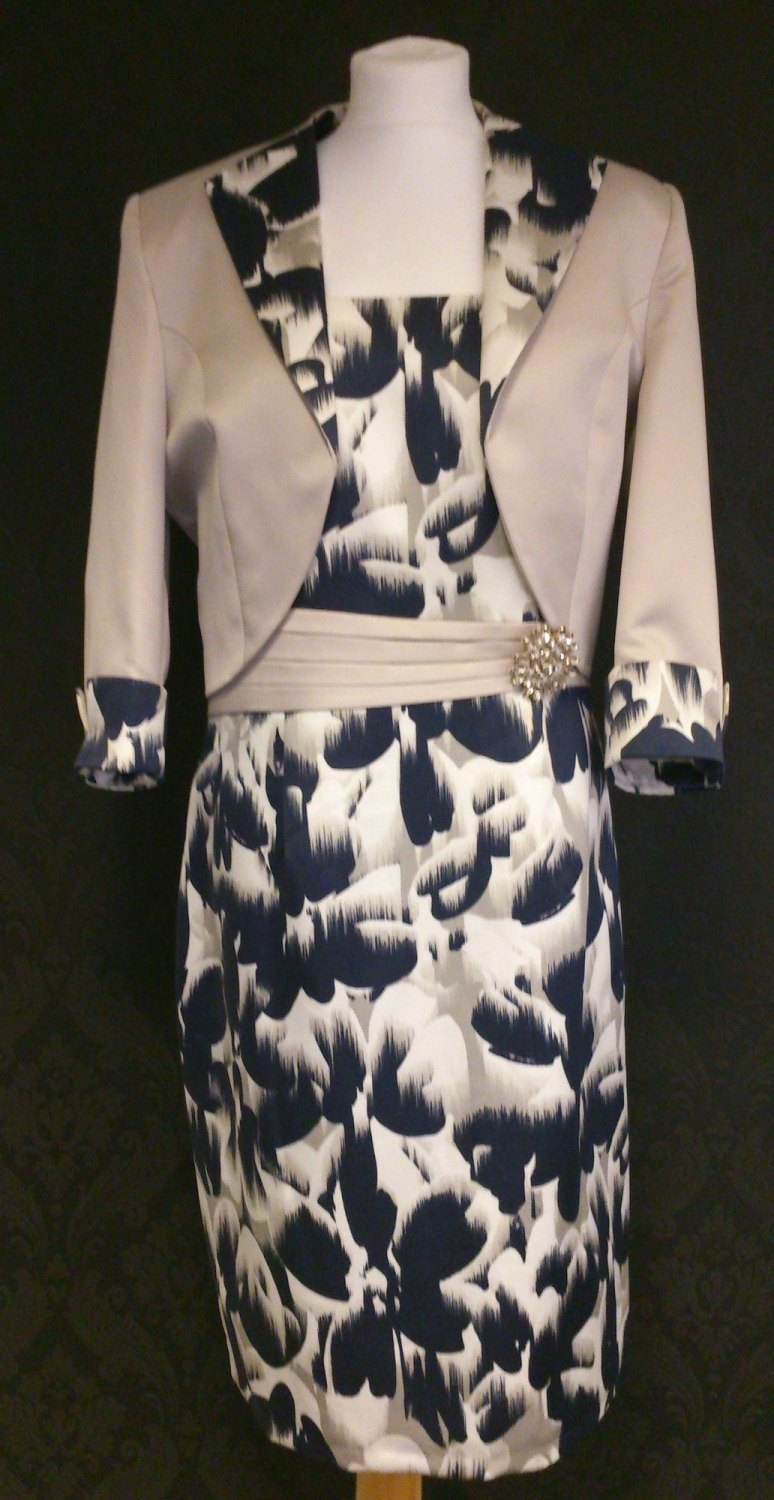 NEW NassC Navy Print & Beige Dress & Jacket
