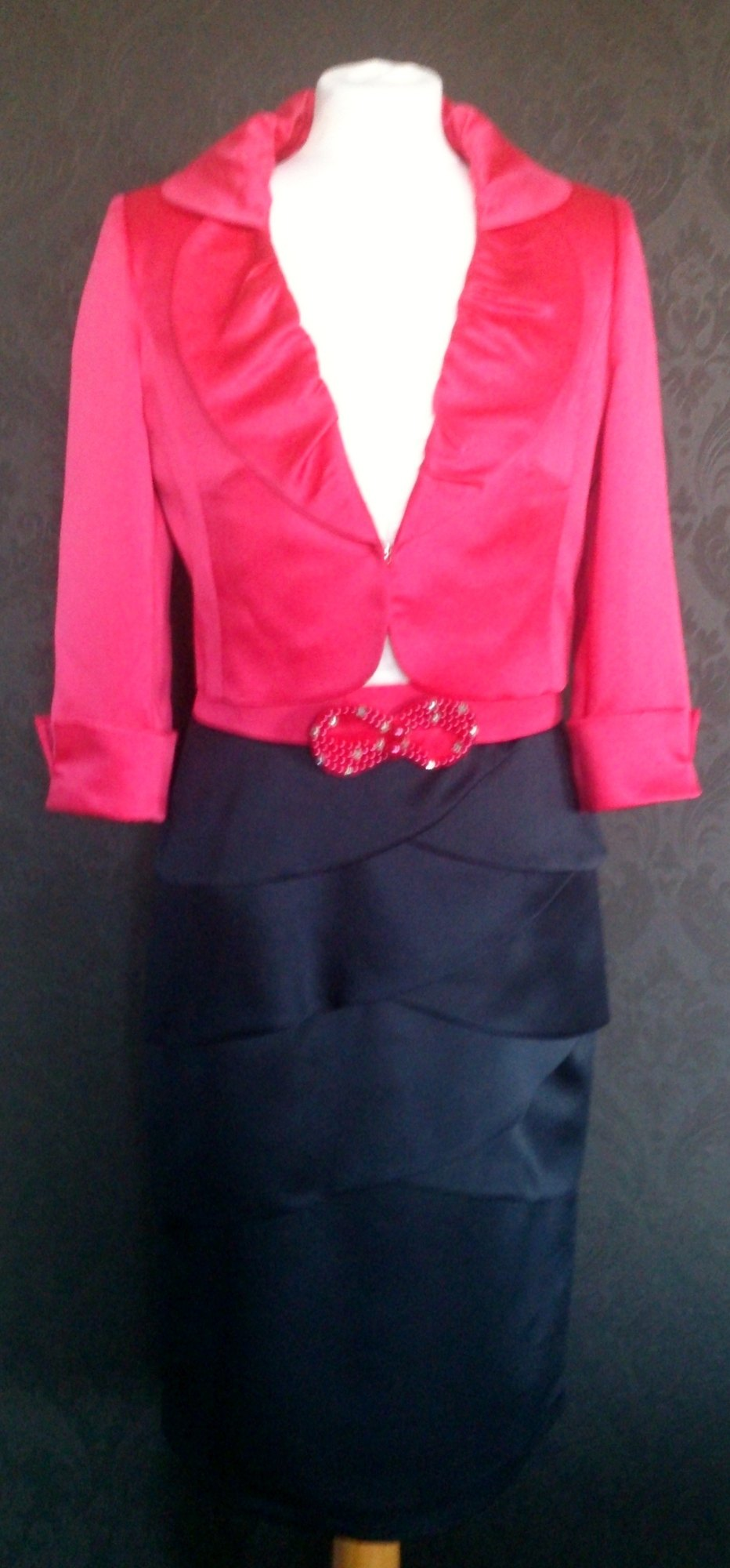NEW NassC Navy/Cream & Cerise Dress & Jacket