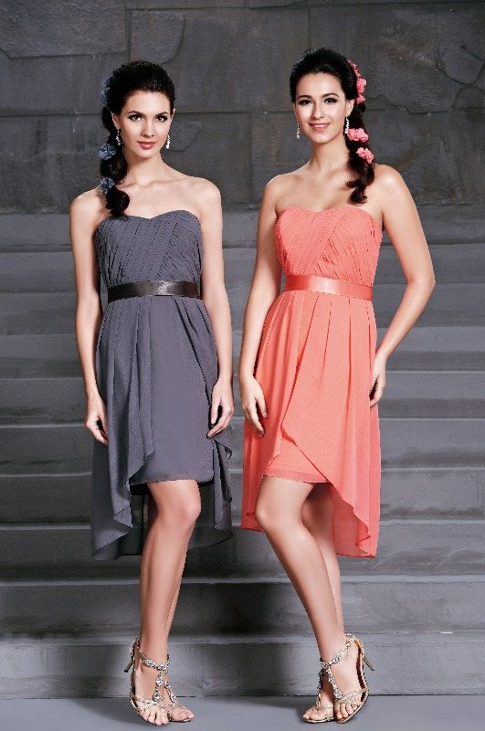 BM Sale Dress - D'Zage - dab11404-pewter-pewter & coral-coral-3