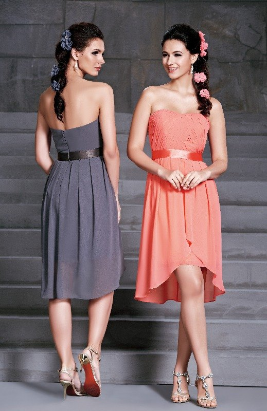 BM Sale Dress - D'Zage - dab11404-pewter-pewter & coral-coral-4