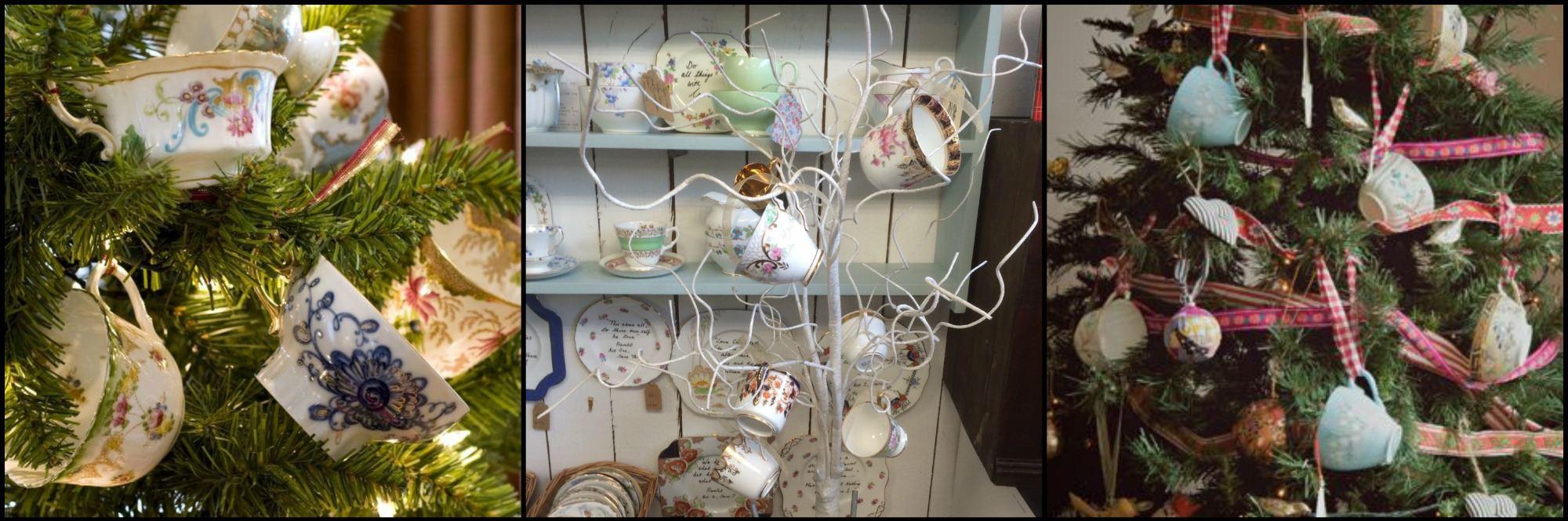vintage teacups on tree