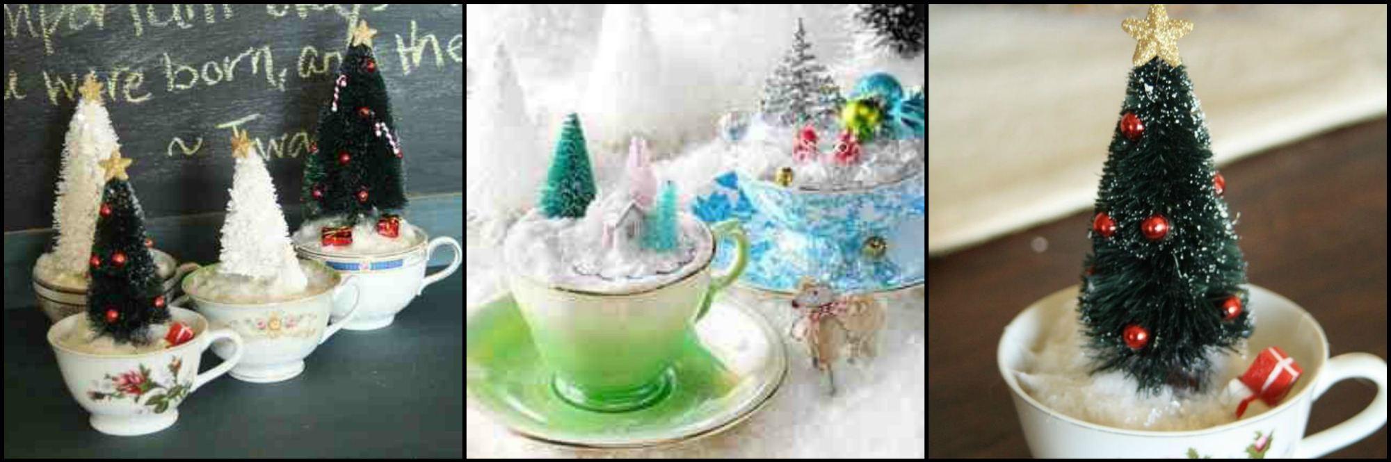 christmas trees in teacups