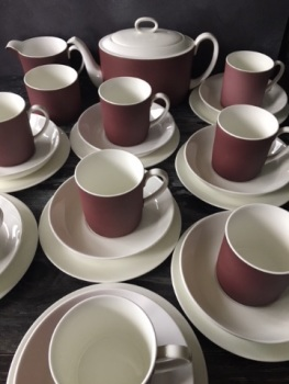 "Susie Cooper ""Mulberry"" Tea Set for Eight"