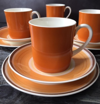 "Susie Cooper ""Gay Stripes Cantaloupe"" Set of Four Tea or Coffee Trios"