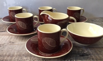 "Susie Cooper ""Leaf and Spots"" Coffee Set"