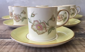 "Susie Cooper ""Wild Rose"" Coffee Set for Six"