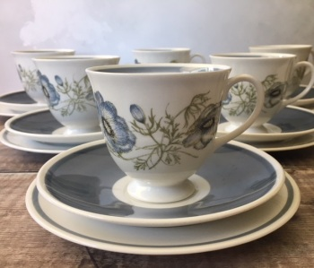 "Susie Cooper ""Glen Mist"" Tea Set for Six"