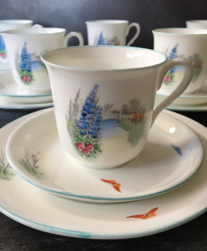 Elegant Shelley English Bone China Tea Set for Six
