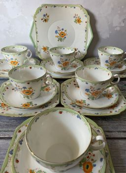 "Shelley ""Posie Spray"" tea set for six or twelve"