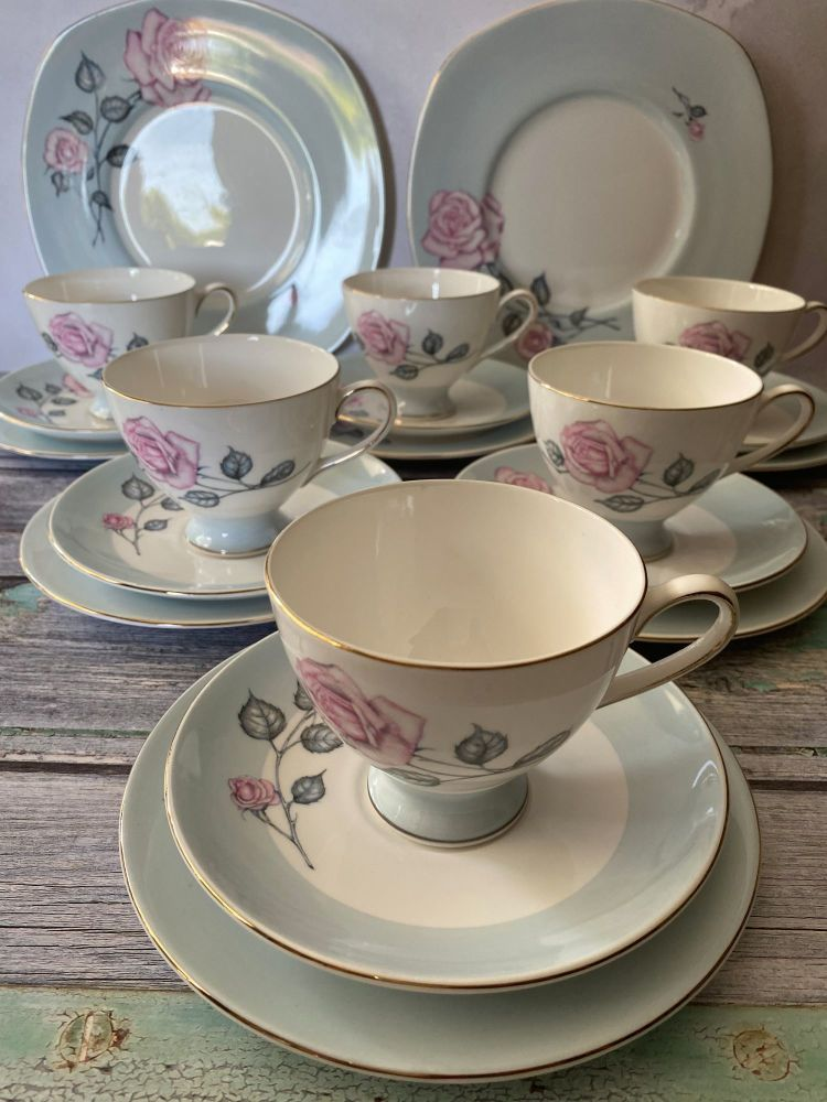 Susie Cooper pink rose, complete tea set for six