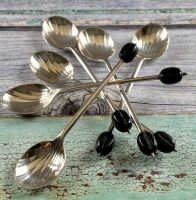 Set of 6 Silver Plated Bean Coffee Spoons