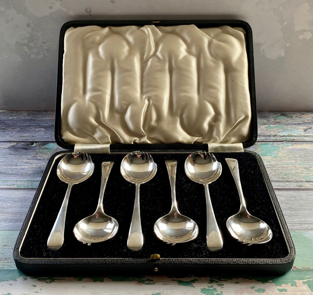 Rare set of 6 Silver Plated Sporks, with original box