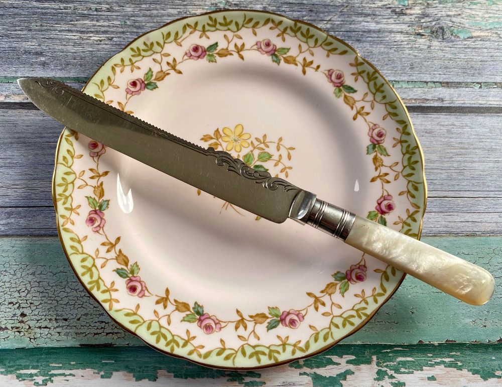 Mother of Pearl & Silver Plated Cake Knife, James Deakin & Sons