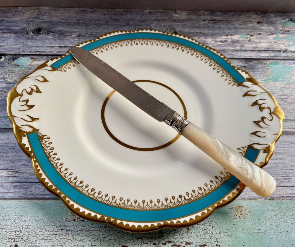 Mother of Pearl Cake Knife with Silver Collar