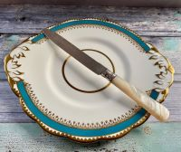 Large Mother of Pearl Cake Knife with Silver Collar