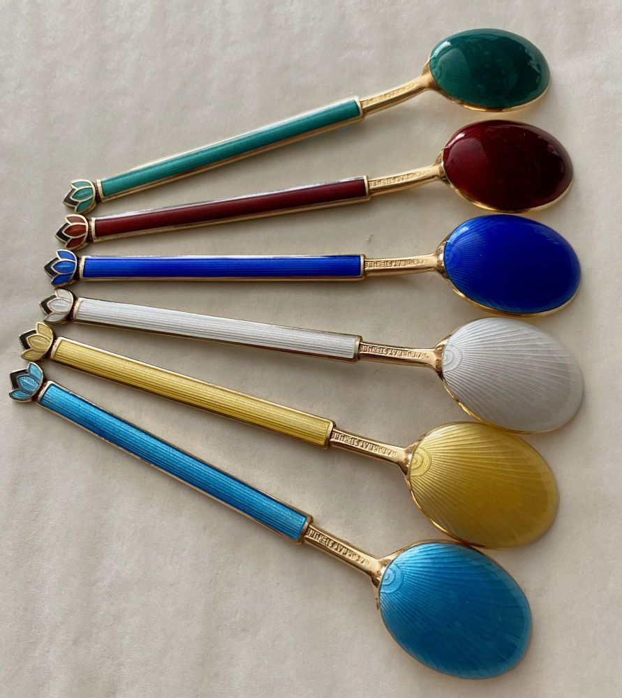 Set of 6 David Anderson, Norway, Silver Gilt Guilloche Enamel Coffee Spoons
