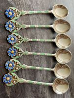 Set of Six Solid Silver & Enamel Spoons with Flower Finials