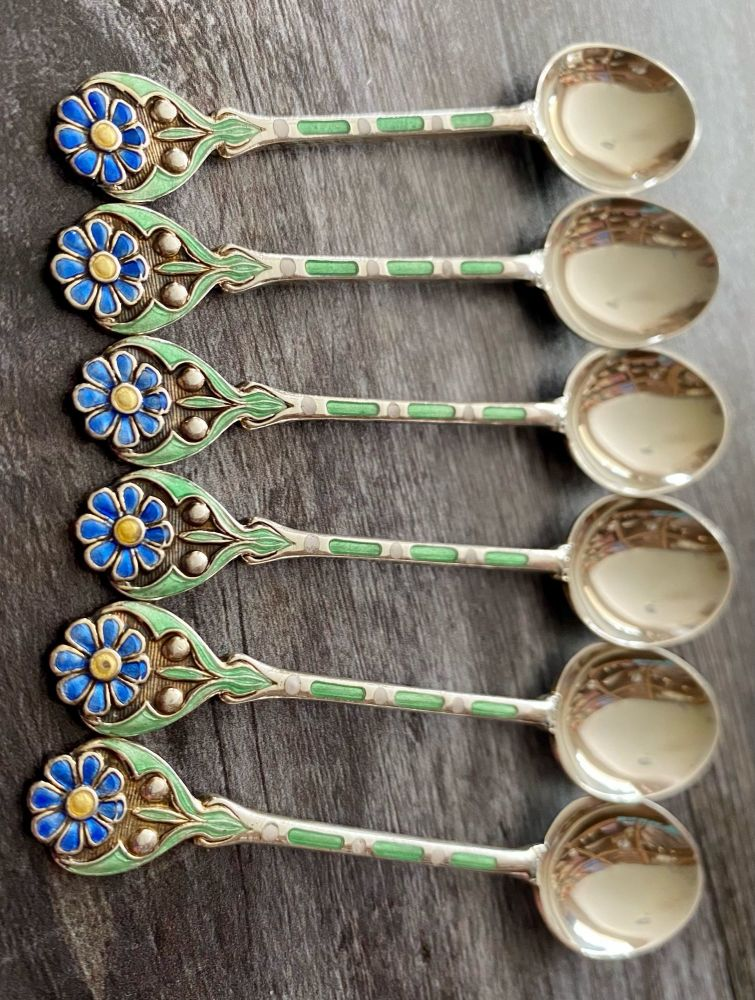 Set of 6 Silver & Enamel Spoons with Flower Finials
